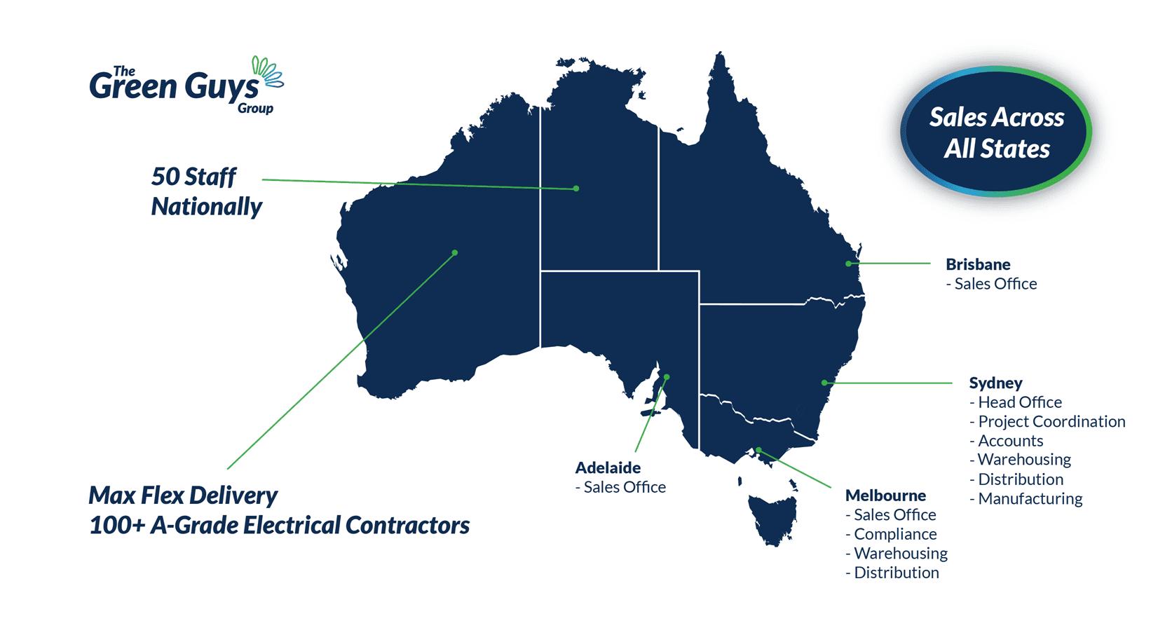Our presense accross four states in Australia - The Green Guys Group